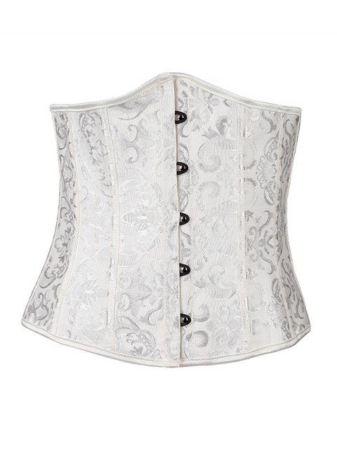 women Lace Up Hook Up Corset With Panties - WHITE L Mobile