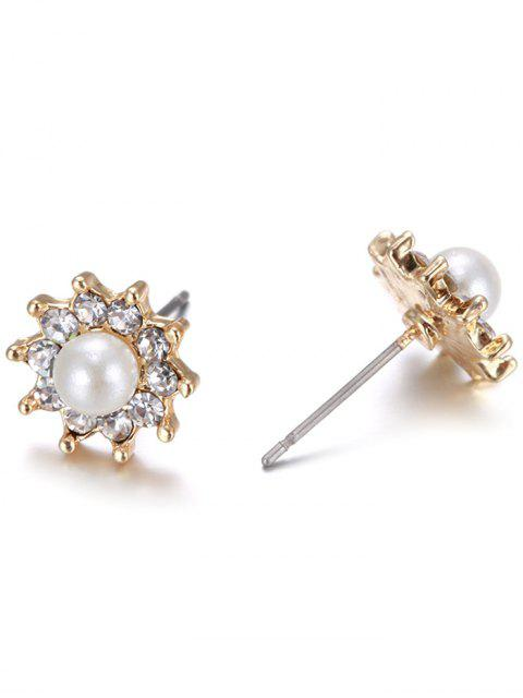 latest 5PCS Different Shape Rhinestone Earrings Set - GOLDEN  Mobile