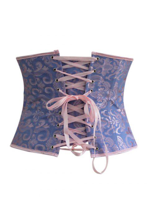 shop Lace Up Hook Up Corset With Panties - BLUE M Mobile