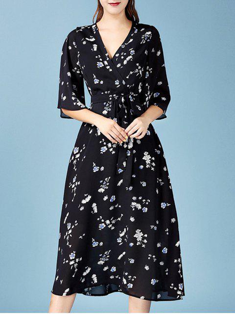 hot V Neck Floral Chiffon Wrap Dress - BLACK L Mobile