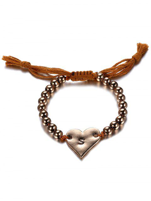 outfit Retro Heart Adjustable Rope Bracelet - COFFEE AND GOLDEN  Mobile