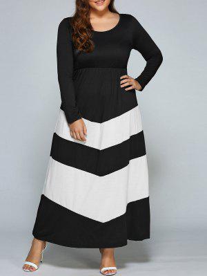 Zigzag Long Sleeve Plus Size Maxi Dress - White And Black 3xl
