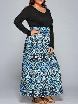 Floral Print Spliced Maxi Dress - 3xl