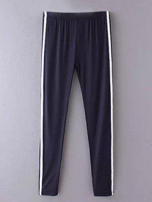 Side Stripe Skinny Casual Pants - Cadetblue