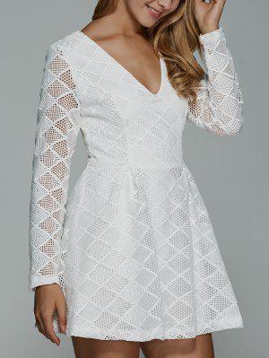 Vestido De Encaje Con Mangas Largas - Blanco M