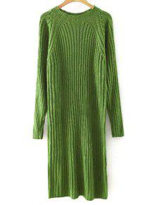 Buy Solid Color Round Neck Sweater Dress - BLACKISH GREEN L