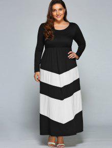 Zigzag Long Sleeve Plus Size Maxi Dress WHITE AND BLACK: Maxi ...
