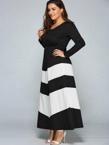 27% OFF] 2019 Zigzag Long Sleeve Plus Size Maxi Dress In WHITE AND ...