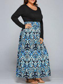 Maxi Vestido Con Empalme De Estampado Floral - 2xl