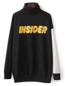 Col Roulé Oversize Sweatshirt Graphic - Noir S