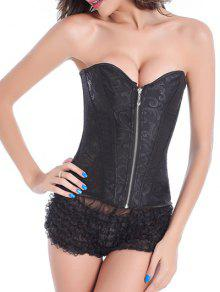 Zip Up Lace Skeletoned Corset With G-String - Black S