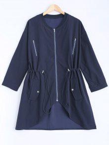 Stand Neck Plus Size Drawstring Coat - Cadetblue 2xl