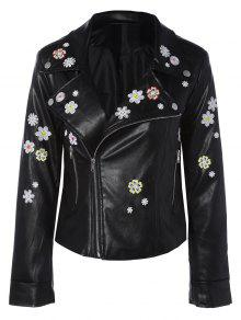 Floral Embroidered Lapel Collar Faux Leather Jacket - Black S