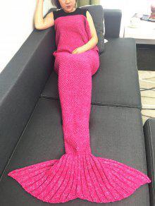 الدفء الكروشيه محبوك حورية البحر الذيل بطانية - وردة حمراء W31.50inch * L70.70inch