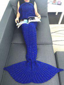 المحمولة الاكريليك الحياكة حورية البحر الذيل أريكة بطانية - أزرق W31.50inch * L70.70inch