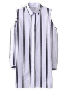 Striped Cut Out Shoulder Long Shirt - White S
