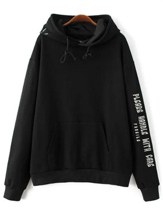 Bordada con capucha de gran tamaño - Negro L