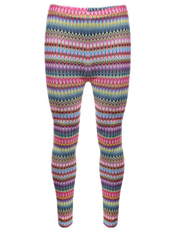 Tribal Print Skinny Leggings - ROSE PÂLE TAILLE MOYENNE