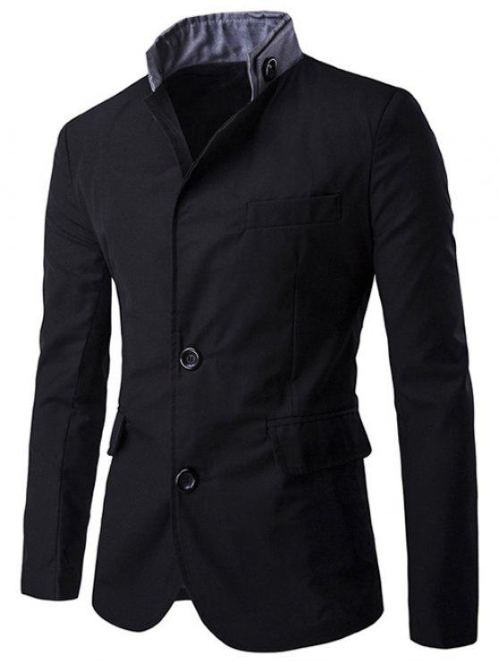women's Color Splicing Single-Breasted Blazer - BLACK M