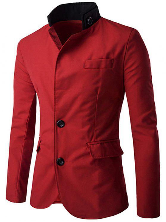 hot Color Splicing Single-Breasted Blazer - RED M