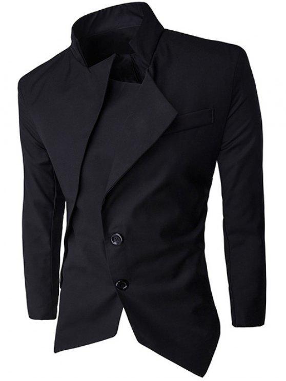 women Stand Collar Asymmetrical Men Blazer - BLACK M