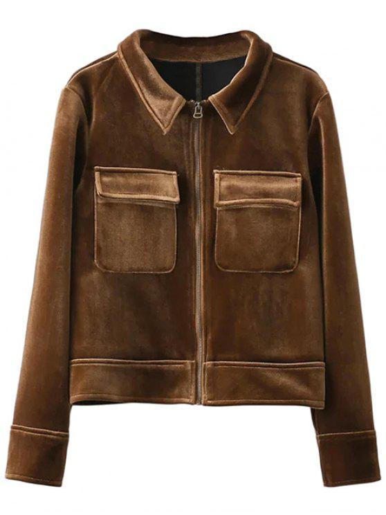 buy Zip Up Velvet Jacket - BROWN M