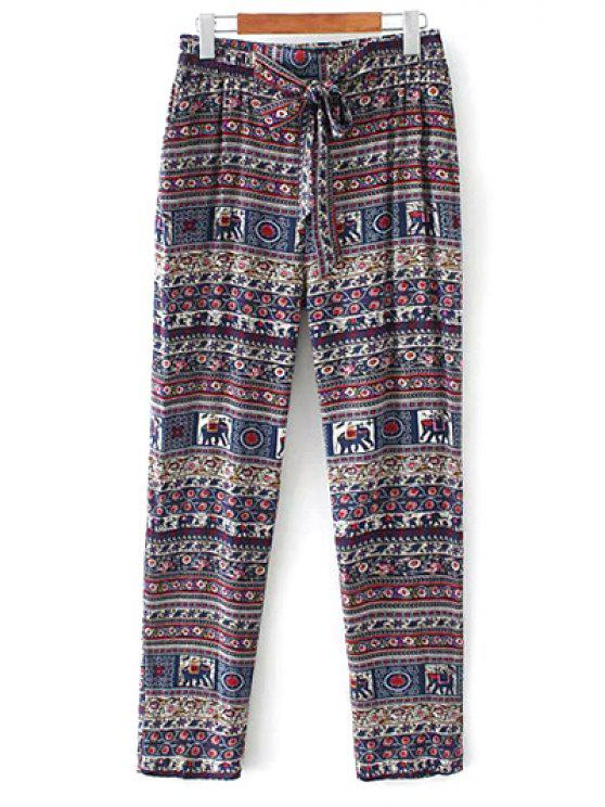 online Printed Straight Cut Casual Pants - PURPLE S
