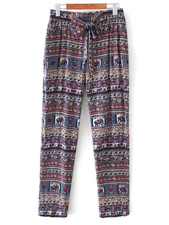 best Printed Straight Cut Casual Pants - PURPLE M