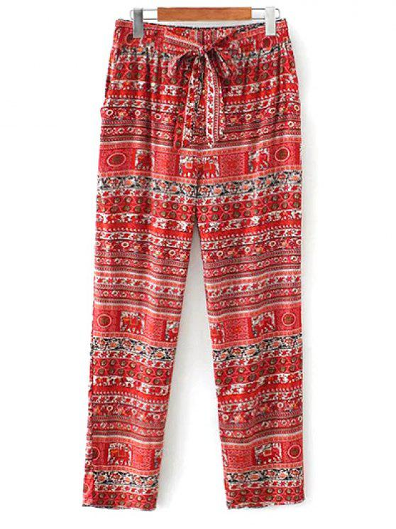 hot Printed Straight Cut Casual Pants - RED M