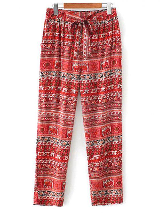 Impressas calça casual corte reto - Vermelho M