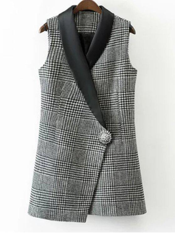 unique Houndstooth One Button Waistcoat - WHITE AND BLACK L