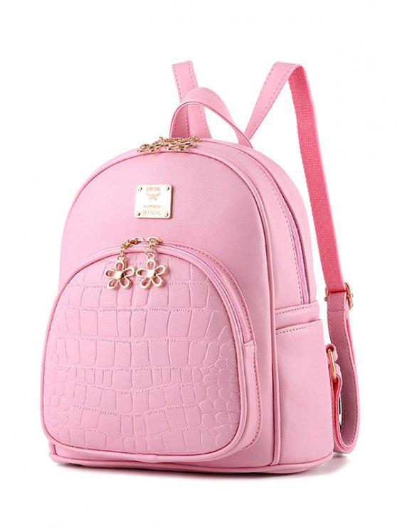 fashion PU Leather Crocodile Embossed Backpack - PINK