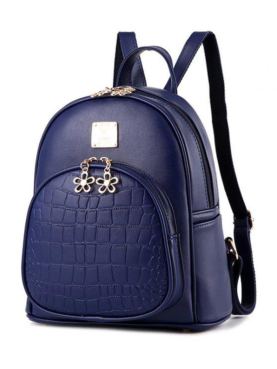 fancy PU Leather Crocodile Embossed Backpack - DEEP BLUE