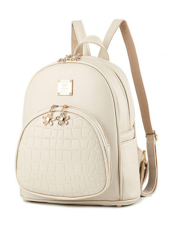 sale PU Leather Crocodile Embossed Backpack - OFF-WHITE