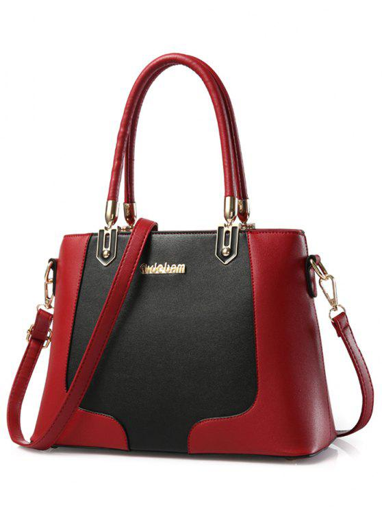 fancy Metal Color Block PU Leather Tote - RED