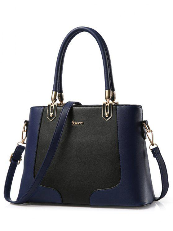 best Metal Color Block PU Leather Tote - DEEP BLUE