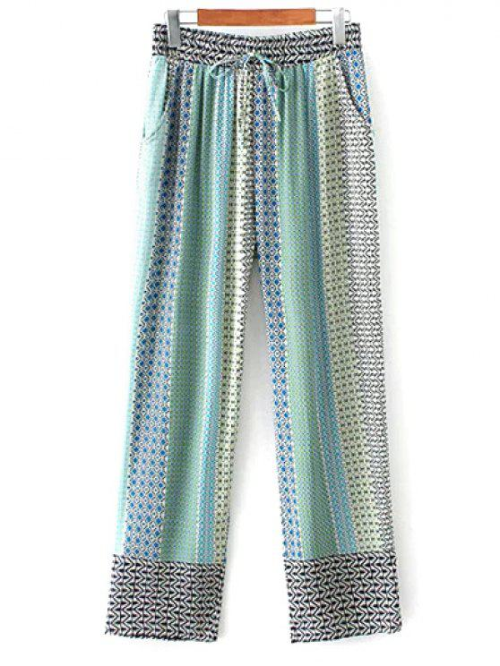 latest Printed Staight Cut Lounge Pants - BLUE L