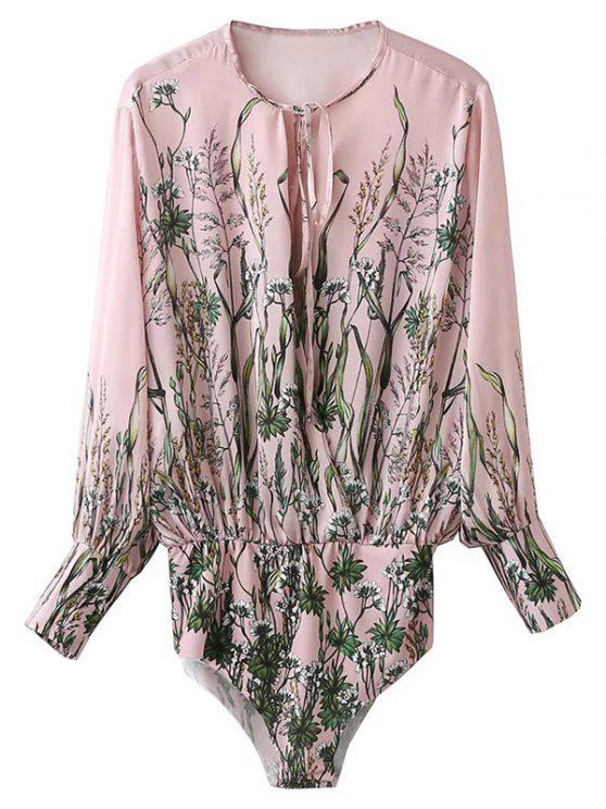 ladies Floral Print Tie Neck Bodysuit - PINK L