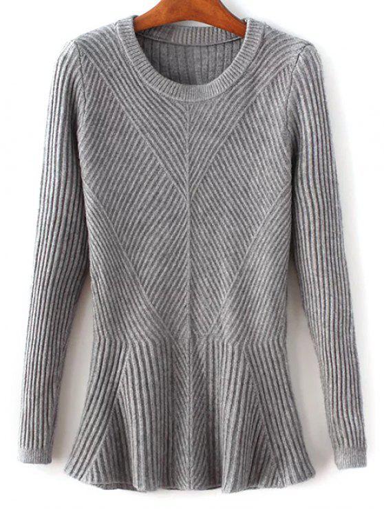 Acanalado Peplum suéter - Gris Única Talla