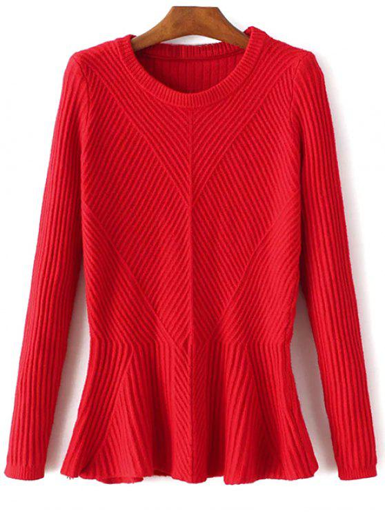 chic Ribbed Peplum Sweater - RED ONE SIZE