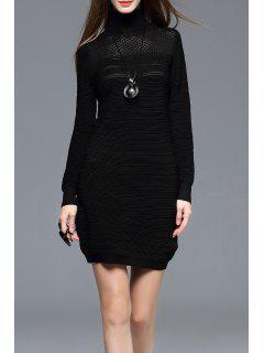 Long Sleeve Turtleneck Bodycon Mini Dress - Black S