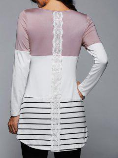 Long Striped Lace Panel Long Sleeve T-Shirt - Light Pink L