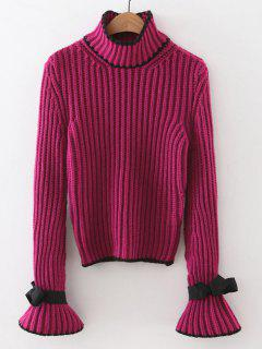Mock Neck Flare Sleeve Knitted Sweater - Purple