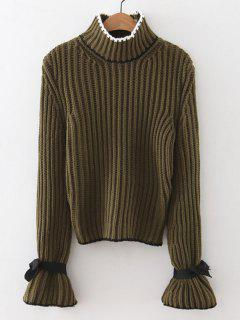 Mock Neck Flare Sleeve Knitted Sweater - Army Green