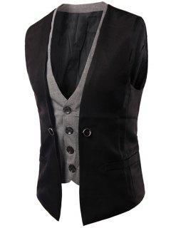 Plaid Insert Buckled Single Breasted Waistcoat - Black 2xl