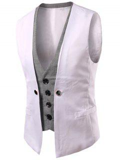 Plaid Insert Buckled Single Breasted Waistcoat - White 2xl