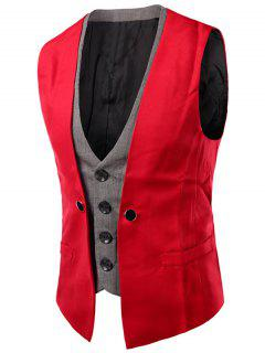 Plaid Insert Buckled Single Breasted Waistcoat - Red M