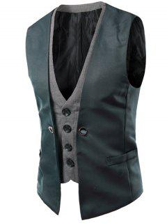 Plaid Insert Buckled Single Breasted Waistcoat - Gray L