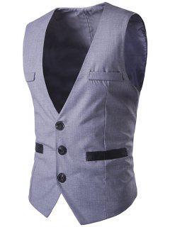 Buckled Welt Pocket Single Breasted Waistcoat - Light Gray 2xl