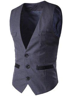 Buckled Welt Pocket Single Breasted Waistcoat - Deep Gray M